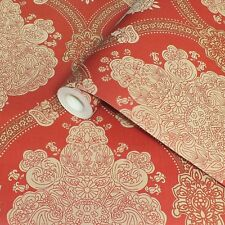 Holden Decor Moselle Red Gold Damask Indian Inspired Textured Wallpaper 65022