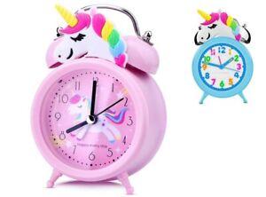 Kids Girls Alarm Clock with Unicorn Design 3D Indicator Durable for Bedroom Gift