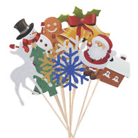 10Pcs Merry Christmas Party Cupcake Snowflake Elk Cake Toppers Xmas Decoration