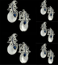Elegant 925 Silver Blue Feather Moonstone Sapphire Wedding Hoop Stud Earrings