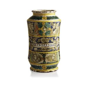 Albarello con trofei guerreschi e mascheroni fantastici vaso