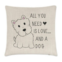All You Need Is Love And A Dog Linen Cushion Cover - Pillow Funny