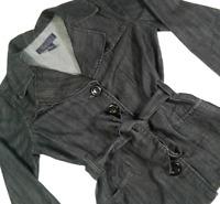 Baccini Women Medium Jean Jacket Black Button Front Long Sleeve 03B