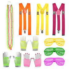 Fluorescent 80's Neon Festival Nu Rave Bead Necklace, Gloves, Glasses, Braces