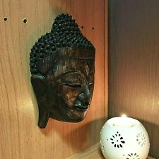 VINTAGE ART LARGE BUDDHA FACE WOOD HAND CARVED WALL HANGING CRAFT HOME DECOR