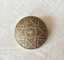 Ancienne Broche Damascène de Tolède Décor à L'or Fin Bijoux Toledo TBE 3,5 cm