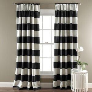 Set 2 Black White Striped Window Curtains Panels Drapes 84 inch L Room Darkening