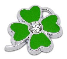 10 Novità Charm Ciondoli Fiore Smaltato Verde con Strass Tono Argento 24x18mm