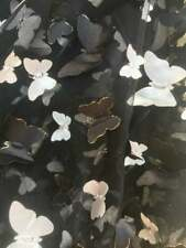 Black, White Mini Butterfly Design/ Mesh Lace Fabric By Yard_ Tulle Embroidery