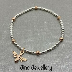Silver 925 & Rose Gold Bee Bracelet, Beaded Stretch Stacking Bracelet Bee Charm