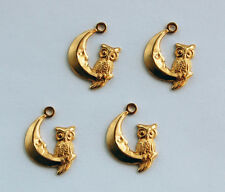 VINTAGE BRASS PENDANT BEADS STAMPING 4 OWL on MOON CHARMS Red's Vintage Stuff!