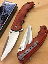 "8"" Spring Assited Tactical Wood Pocket Folding Tech Force Knife"