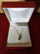 """14KT Yellow Gold Diamond And Natural Ruby Pendant With 18"""" Cable Chain"""