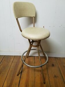 "Vintage Cosco Mid Century Modern Swivel Bar Stool Chair, 34"" High Beige Man Cave"
