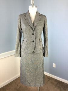 Talbots S 6 P Charcoal Gray Skirt Suit Wool Blend A Line Excellent  B4