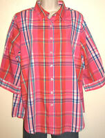 Woman Within 3/4 Sleeve Button-Down Pink Plaid Shirt Plus Size 14/16