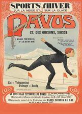 Vintage Ski Posters DAVOS SPORTS D'HIVER, Swiss, 1907, Travel 250gsm A3 Print