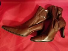 "WOMENS BROWN PREDICTIONS 3"" HEELS ZIPPERED MID CALF BOOTS - SIZE 7W"