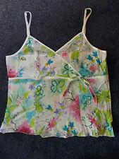 Spaghetti Top Stefanel *S 34 36* bunt weiß pink grün blau Blumen geblümt WIE NEU