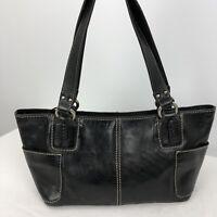 Fossil Purse Black Pebbled Leather Satchel Shoulder Bag Side Pockets