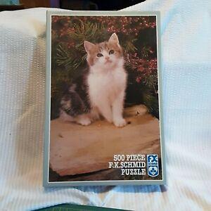 F. X. Schmid Sitting Pretty 500 Piece Jigsaw Puzzle Cat Kitten #97713 New Sealed