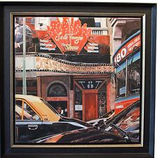 Guido Borelli Original Oil Painting Cityscape with Cars Framed