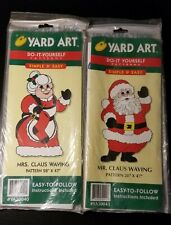 2 Yard Art Do it Yourself patterns - 1998 Mrs. Caus Waving and Mr. Claus Waving.