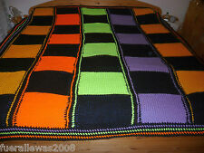 Day Blanket Snuggle Blanket Hand Knitted Art Deco Knitting Patchwork CA 220x210 cm
