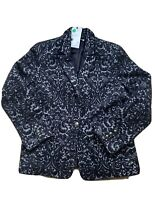 NWT CAbi #109 Jacquard Jacket Fall 2014 Blue Paisley  Wool Blend Blazer US 12