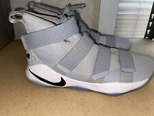 Size 15.5  Nike LeBron Soldier 11 Gray And White