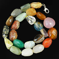 657.50 CTS NATURAL UNTREATED MULTICOLOR MULTI GEMSTONE FACETED BEADS NECKLACE