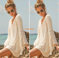 Vintage Womens White V Neck Boho Flare Sleeves Mini Short Lace Loose Beach Dress