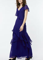 Monsoon Rosa Drape Ruffle Ghost Wedding Party Fish Tail Maxi Long Dress 8 to 14