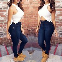Women's Pencil Stretch Denim Skinny Slim Jeans Pants High Waist Jeans Trousers