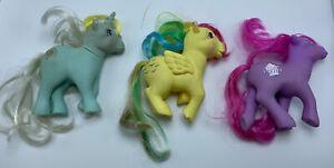My Little Pony Lot G1  3 ponies Sherbet, Sunbeam, Skydancer ( foot damaged)