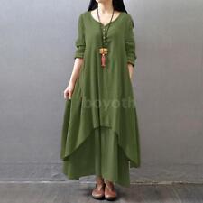 Vintage Women Boho Long Sleeve Cotton Linen Kaftan Maxi Irregular Dress N2F4