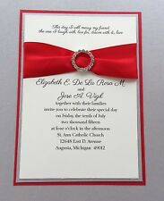 Red and Silver Wedding Invitation Set