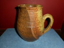ORIGINAL STONEWARE POTTERY JUG SIGNED PETERSON RUSTIC BROWN EARTHENWARE PITCHER