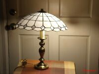 """REDUCED"" Tiffany Style Stained Glass With Brass Single Light Lamp"