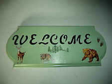 Interesting Green Welcome Wooden Plaque With Deer Raccoon And Brown Bear