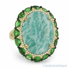 13.88ct Oval Amazonite & Garnet Cocktail Ring Diamond Accents in 14k Yellow Gold
