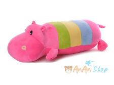 Plush 24'' Rainbow Hippo Stuffed Animal Doll Hold Pillow Cushion Soft Toy Gift