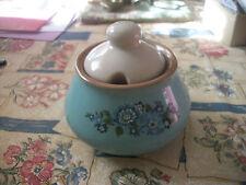 Vintage - Azure Blue Sugar Bowl with Blue Flowers