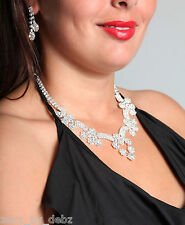 Ladies Necklace and Long Drop Earrings Set with Diamates flowers STUNNING - NEW!