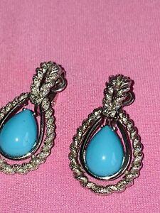 AVON turquoise stone BRUSHED SILVER TONE ROPE TWIST TEARDROP CLIP EARRINGS