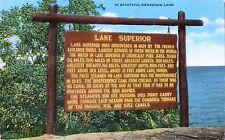 Postcard Michigan Lake Superior Sign Beautiful Keweenaw Land 1952 Linen