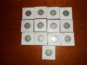UP FOR BID IS A 13 DIFFERENT DATE & MINT SILVER BARBER QUARTER LOT $3.25 FACE