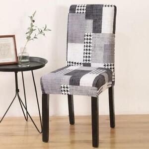Black & White Houndstooth Patchwork Dining Chair Cover Slipcover
