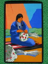 Southwest Art Native American Indian Basket Weaving Vintage 1940's Swap Card WOW