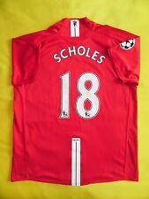 4.9/5 MANCHESTER UNITED 2007/2009 CUP ORIGINAL FOOTBALL JERSEY SHIRT #18 SCHOLES
